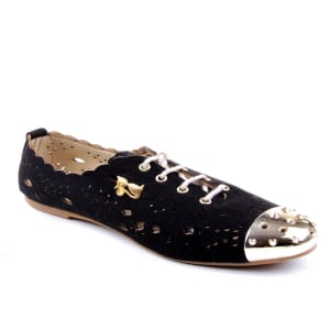 Female Suede Brogues With Front Spikes - Black