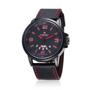 Gentleman Leather Strap Watch 9028R - Black