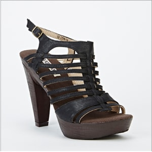 Gladiator French Heel Sandal - Black