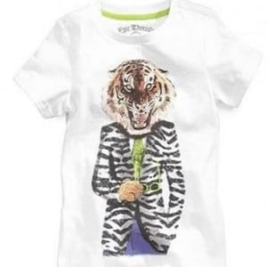 Little Boys Tiger in a Suit Graphic Tee- Bright White