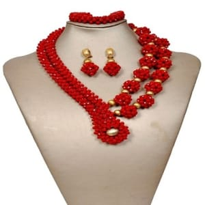 Matted Ball Crystal Beads Mixed with Gold Balls- Red