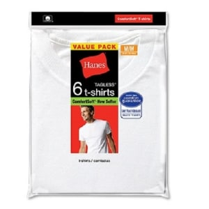Men's 6 Pack White Crew Neck Tee