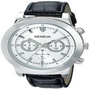 Men's 2417G-GEN Analog Display Analog Quartz Black Watch