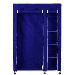 Mobile Wardrobe Closet With Hanger -Blue
