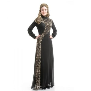 Nayla Black Dress with Leopard Print