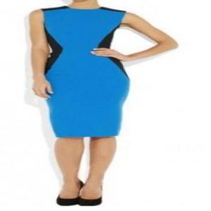 Patchwork Sheath Bodycon O-neck Back Zipper Stretch Sleeveless Dress - Blue