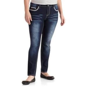 Plus-Size Embellished Skinny Jeans- Dark wash