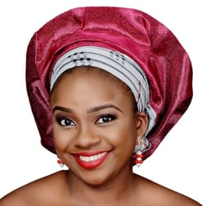 Silver Patterned and Pink Asake Gele