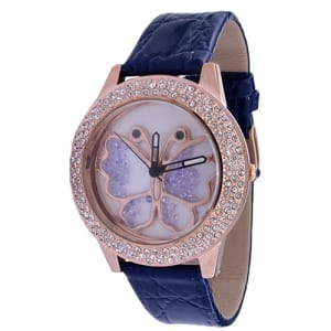 The Butterfly Rose Gold Wrist Watch- Blue