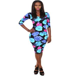 Three Quarter Sleeve Floral Dress