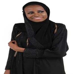 V Neck Lace Abaya With Gold/Black Embellishment