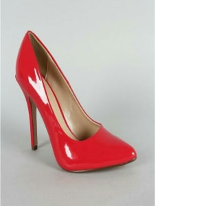 Patent Pointy Toe Stiletto Pump - Red