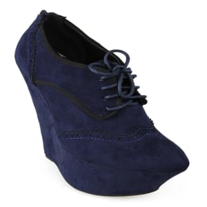 Imola Point Toe Lace Up Wedge Bootie   Blue