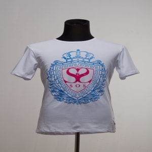 Male T-Shirt with Blue and Red Crest   IDMS