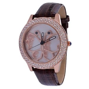 The Butterfly Rose Gold Wrist Watch- Brown